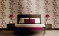 decoración con tonos rojos con papel pintado, balance en decoración