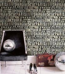 Papel pintado ciudades con letras
