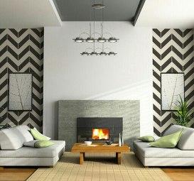 Chevron en papel pintado para pared de salón