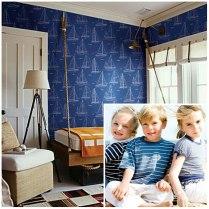 Detalle de habitación infantil con presioso papel pintado de barcos